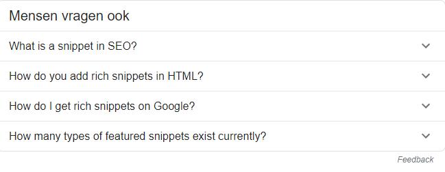 Veelgestelde vragen rich snippets